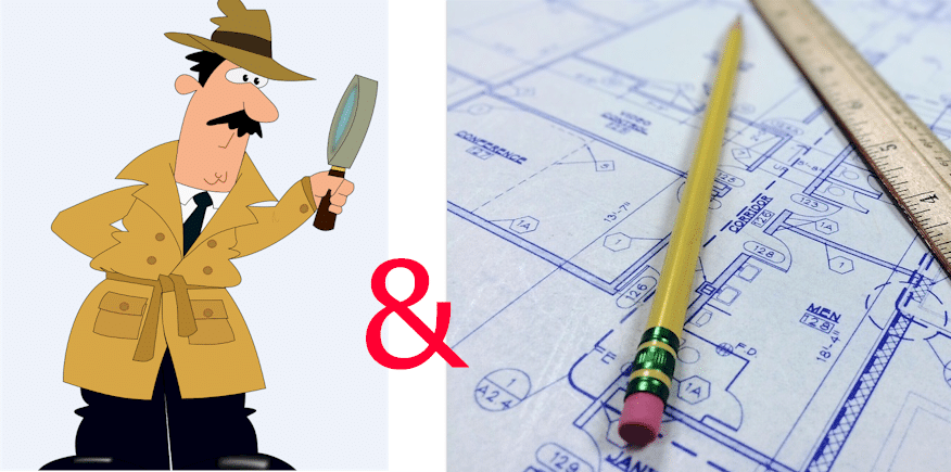 doppeltes Symbolbild: Detektiv und Bauplanung