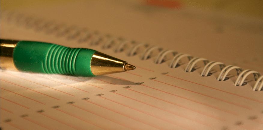 Kugelschreiber auf Spiralblock