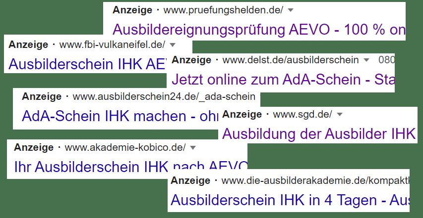 AEVO-Anzeigen