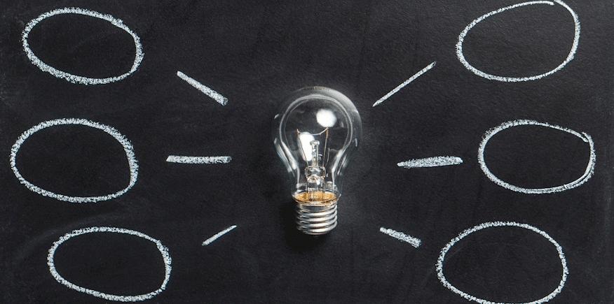 Symbolbild: Glühbirne mit abgespreizten Kringeln - ähnlich einer MindMap