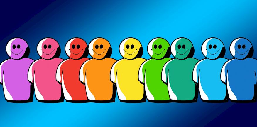 Symbolbild: gleichartige Figürchen, aber in unterschiedlichen Farben