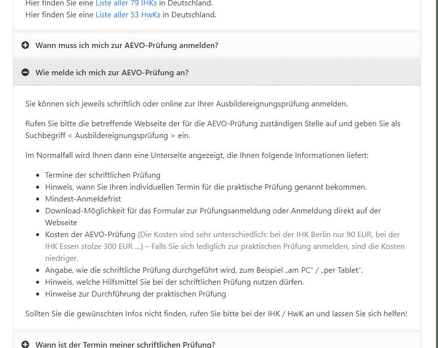 weiterer Screenshot von der FAQ-Liste
